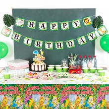 Jungle Party Animal Decorations Happy Birthday Banner For Kids Supplies 1st