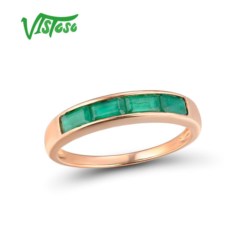 VISTOSO Gold Rings For Women Genuine 14K 585 Rose Gold Ring Magic Emerald Engagement Anniversary Round Rings Trendy Fine JewelryVISTOSO Gold Rings For Women Genuine 14K 585 Rose Gold Ring Magic Emerald Engagement Anniversary Round Rings Trendy Fine Jewelry
