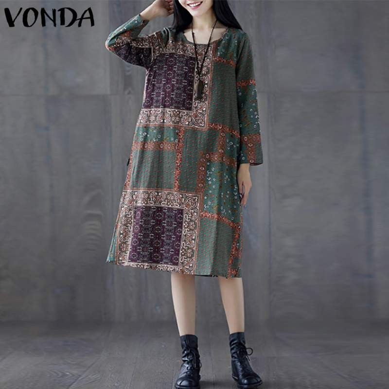 Fashion Women Cotton Linen Dress 2018 Autumn O Neck Long Sleeve Vintage Print Dresses Casual Loose Midi Vestidos Robe