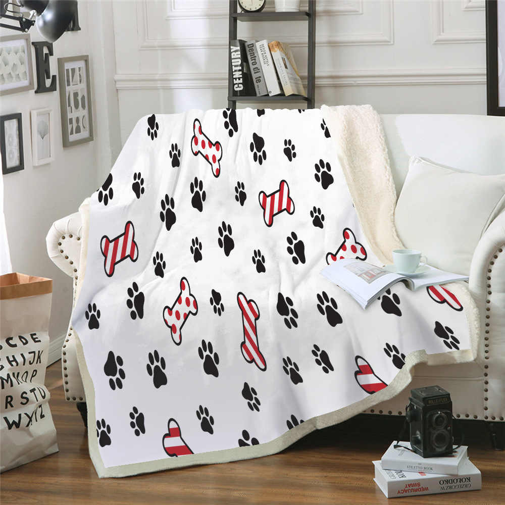 Sofá cojín de Yoga manta de aire acondicionado grueso de doble capa de felpa 3d manta impresa Digital Linda serie de cachorros