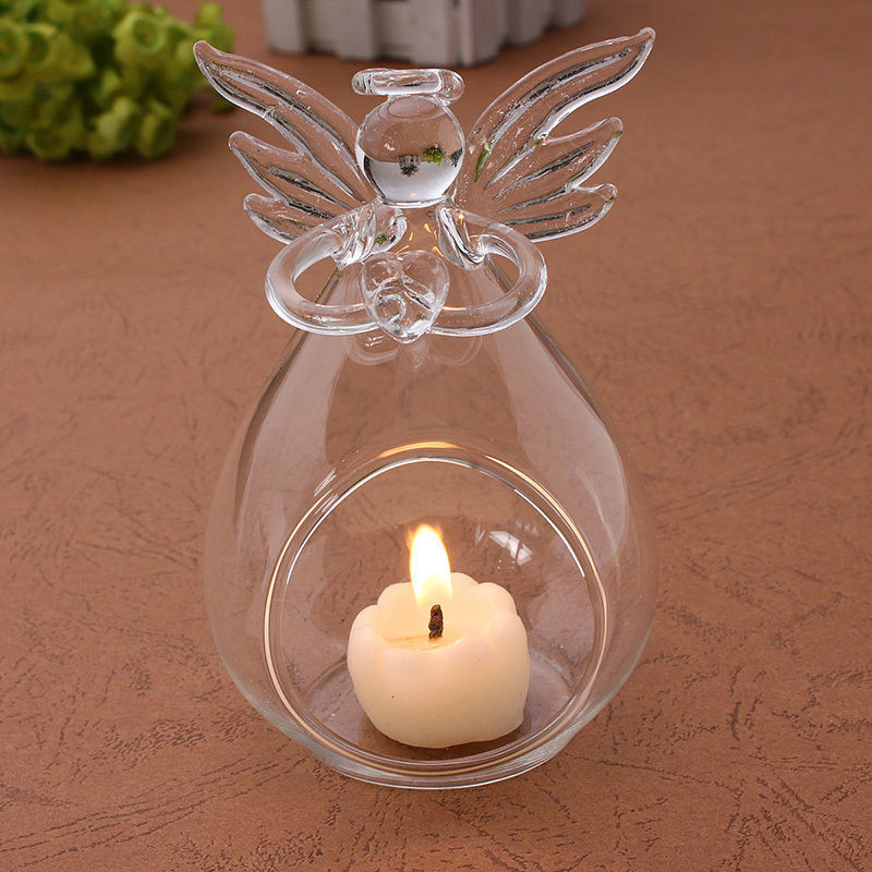Romantic Angel Crystal Glass Candle Holder Hanging Tea Light Lantern Candlestick Burner Vase DIY Home Wedding Party Decoration image