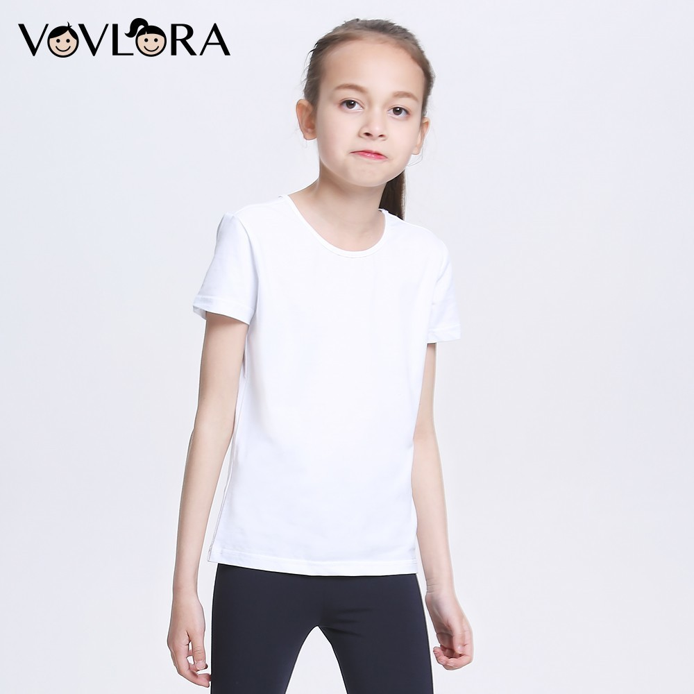 Summer White T Shirts Cotton Girls Sport T Shirt O Neck Short Sleeve Kids School Tee Knitted 2018 Size 7 8 9 10 11 12 13 14 Year striped mock neck o ring detail crop tee