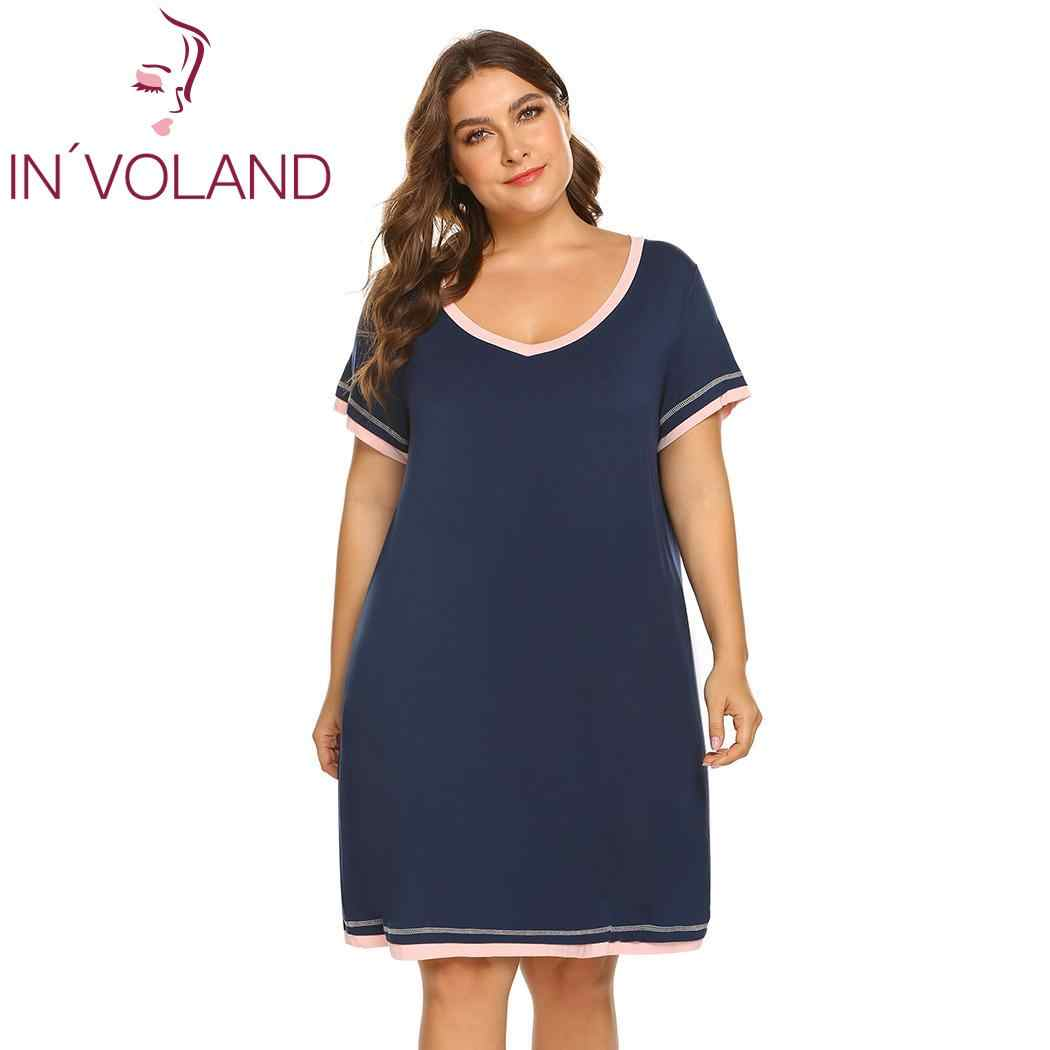 5ecb6d74c8b IN VOLAND Plus Size Women Sleepwear Fashion V Neck Nightdress Short Sleeve  Contrast Color Summer
