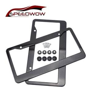 SPEEDWOW Frame Holder Tag-Cover License-Plate-Frame Carbon-Fiber Fit Standard 2pcs Car-Part