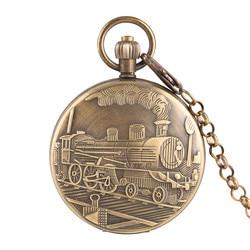 Mechanical Pocket Watch Men Steam Train Pattern Mechanical Pocket Watches Golden Skeleton Gift for Pocket Watch With Necklace