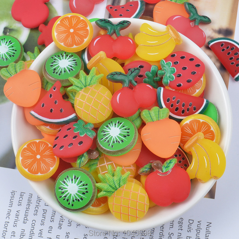 Us 27 55 5 Off 500pcs Lot Rubber Kawaii Simulated Colorful Fruit Apple Strawberry Banana Cherry Watermelon Carrot Kiwi Slice Mix Size In Jewelry