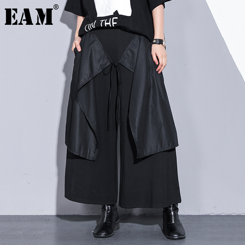 [EAM] 2019 New Spring Summer High Elastic Waist Balck Bandage Split Joint Loose   Wide     Leg     Pants   Women Trousers Fashion JQ604