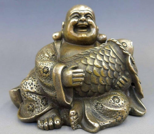 Collection Chinese Brass Carved Maitreya Buddha Happy Buddha Embracing Fish Coin Exquisite Small Statues
