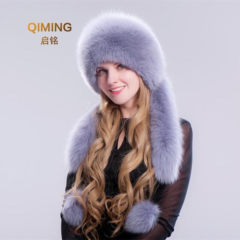 New Fox Fur Hat Pompom Thicken Winter Pom Pom Cap For Women Ear Protection Woman Keep Warm Long Tassels Rabbit Hat Top Beanies