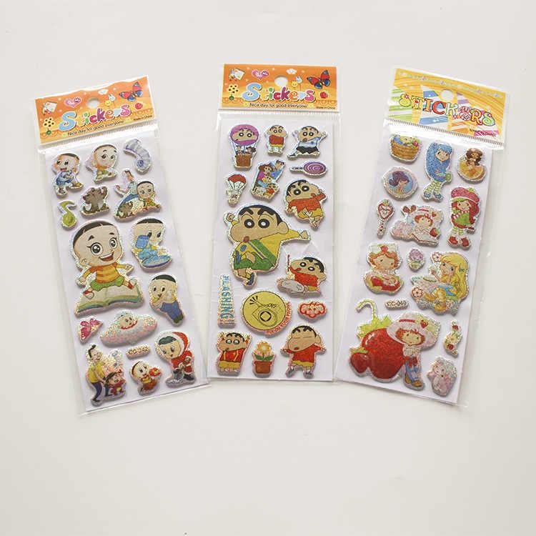 1 pc padrões dos desenhos animados Da Marca de Moda Crianças Brinquedos 3D Adesivos Crianças meninas meninos Dos Desenhos Animados PVC Adesivos Autocolantes Bolha