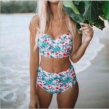 Retro Stretch High Waist Bikini Classical Halter Separate Swimsuit Modest Lace Up Floral Printed Swimwear Large Size Brazilian
