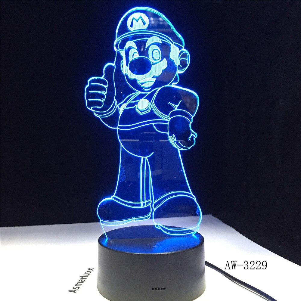 Mario 3D LED table night light usb Table Lamp Color Change Lampen Child NightLight USB Flexible lampe Luminaria Lamparas AW-3229