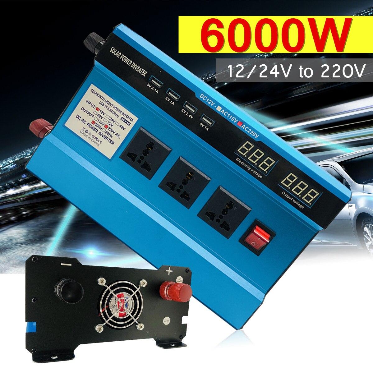 Напряжение трансформатор DC12/24 В к AC220V пик 6000 Вт автомобиль солнечной Мощность инвертор синусоида USB цифровой преобразователь Дисплей защит...
