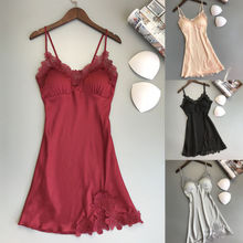 Wanita Seksi Baju Tidur Wanita Babydoll Sutra Noda Renda Pakaian Dalam  Wanita Pakaian Dalam Baju Tidur Santai Baju Tidur Dress B.. a94a90ef8c