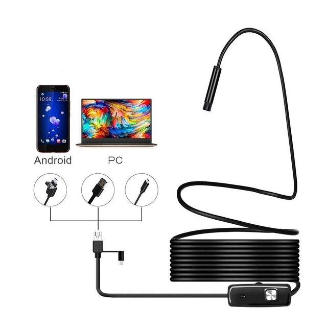 1080P Android kamera endoskopowa 8mm obiektyw endoskop 2m 5m 10m przewód elastyczny zapis wideo boroskop inspekcyjny Led oświetlenie