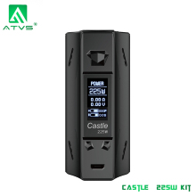 ATVS Castle 225W Box Mod Electronic Cigarette TC Bypass Vape Mod 0.96*0.96 inch Big OLED Screen Without Dual 18650 Battery