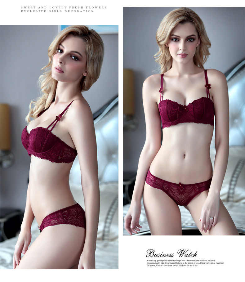 0603c68e7f8 ... Sexy Thin Bra and Panty Set Breathable Floral Lace Nylon Half Cup  Underwire Lolita Style Woman ...