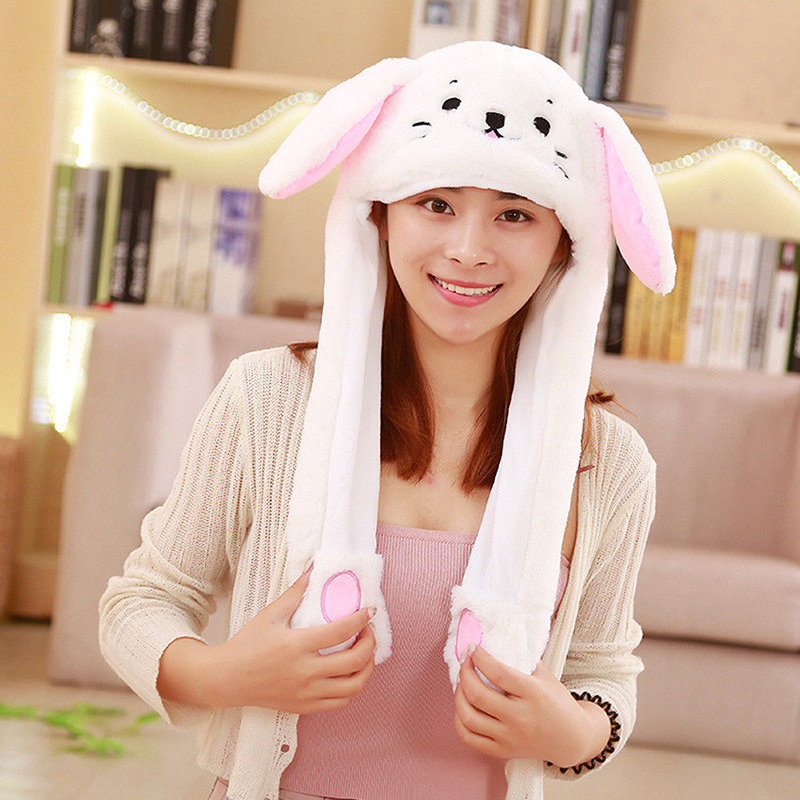 2019 Women Girls Cute Animal Plush   Beanies   Hat Bunny Funny Moving Up Down Ears Caps Kids Toys Lovely Gifts Casual New Hot Sale