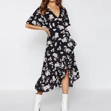 Women Chiffon Floral Print Boho Dress Fashion Deep V Neck Short Sleeve Dress Lace High Waist Irregular Hem Ruffled Dresses Party nude floral print crossed front deep v neck chiffon top