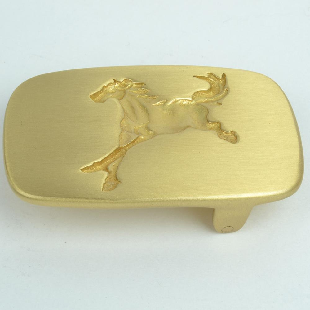 CUKUP Mens New Design Horse Animals Pattern Western Male Cowboy Solid Copper Smooth Belt Buckles Brass Metal for Men BRK044