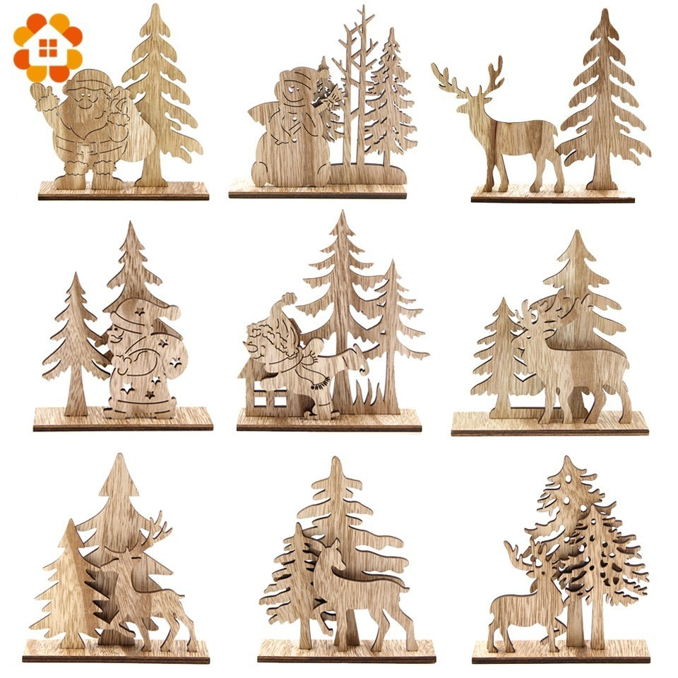 Creative DIY Craft Santa Claus&Deer Wooden Ornaments Wood For Vintage Home Decor Christmas Table Decorations Gift Supplies
