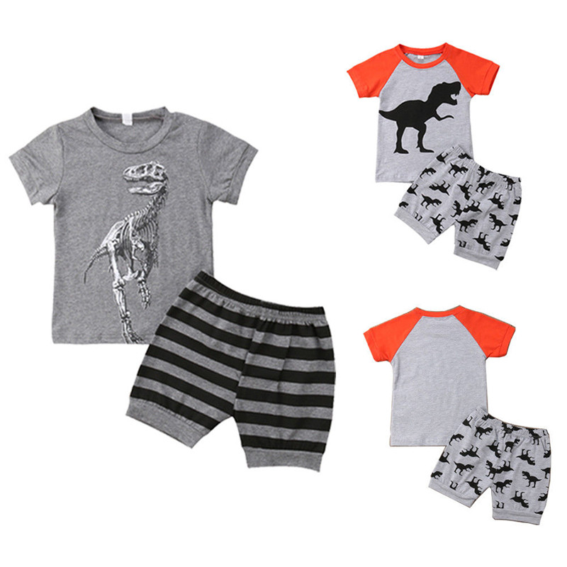 Toddler Baby Boys Short Sleeve Tops T-shirt+Shorts Pants Outfit Clothes Set 1-7Y