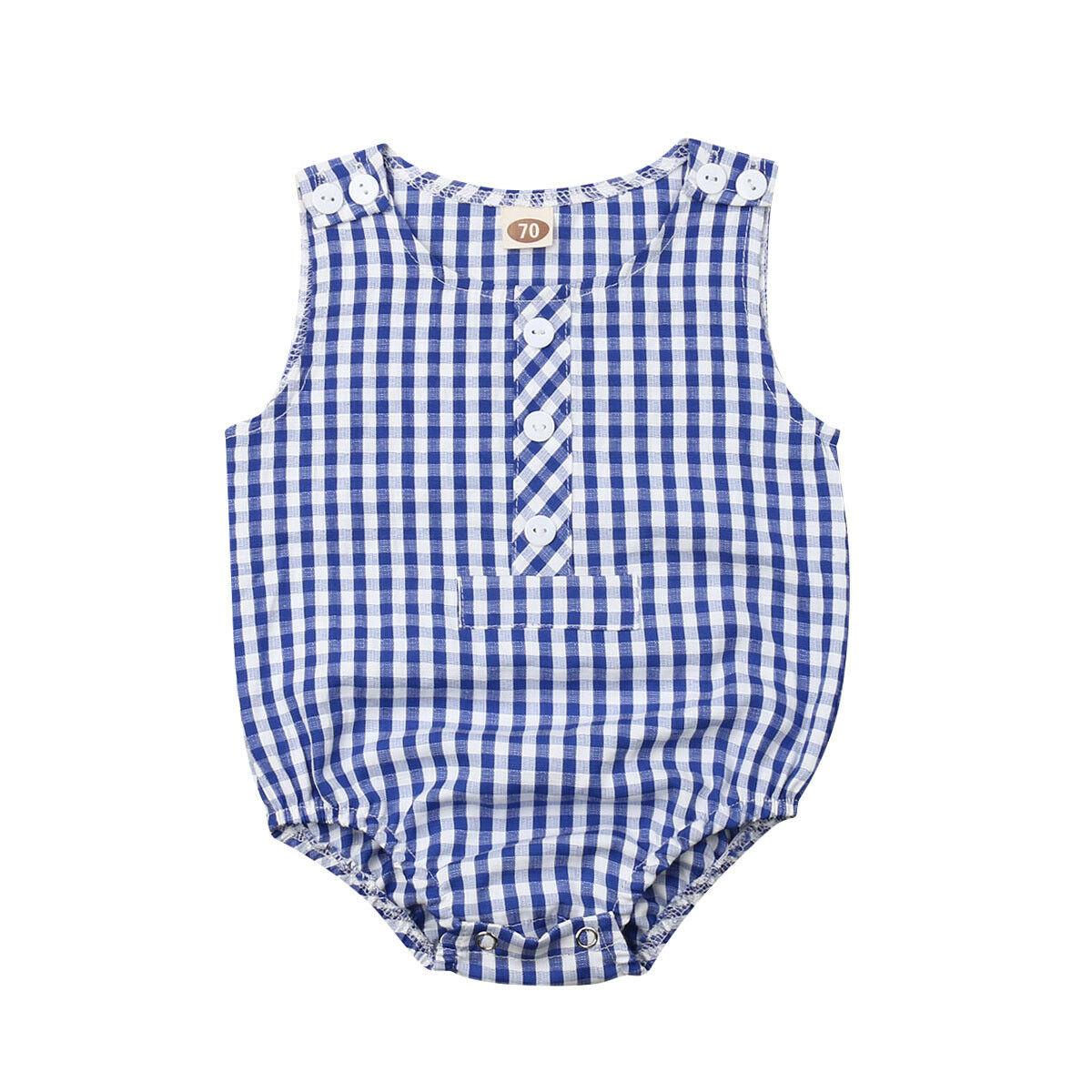 0-24 M Nieuwe Zomer Baby Meisje Jongen Plaid Bodysuits Mouwloze Blauwe Jumpsuit Zomer Outfits Set