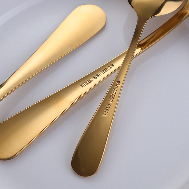 24pcs/lot Golden Stainless Steel Steak Knife Fork Set Gold Cutlery Set With Luxury Wood Gift Box Drop Shipping