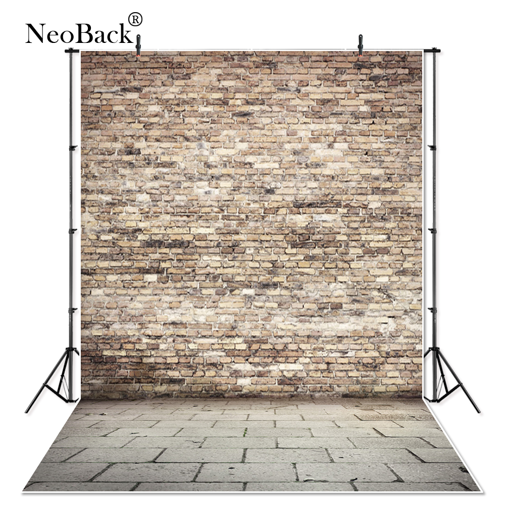 NeoBack Thin vinyl Brown Brick Wall Floor Photography Backdrop children kids backdrops Printing Studio Photo backgrounds P1911
