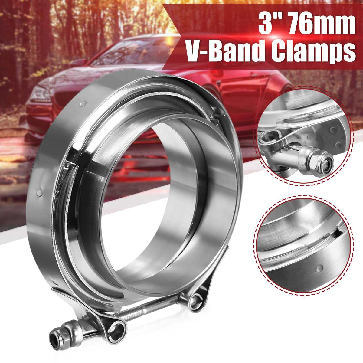 3''//76mm Stainless V-Band Bolt Clamp+2 Flange For Turbo Down-Pipe Exhaust