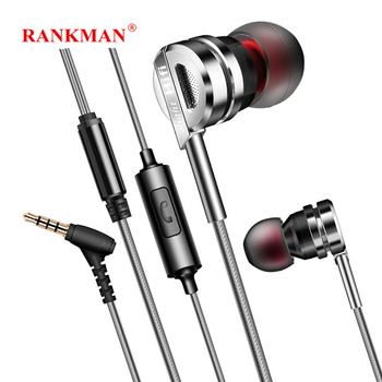 Rankman 3.5 Jack Metal Earphone Sport High Quality Earphones Line Control Bass Earbuds with Mic for PC Phones MP3