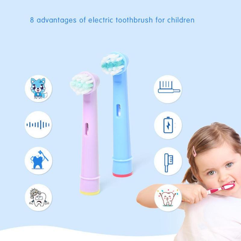 4pcs Kids Children Tooth Brush Replacement Toothbrush Heads For Braun Oral B Electric Soft-bristled Training Tooth Brushes
