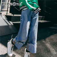 TWOTWINSTYLE Casual Denim Wide Leg Pants For Women High Waist Cuffs Ankle Length Trousers Korean Women's Jeans 2018 Fashion New