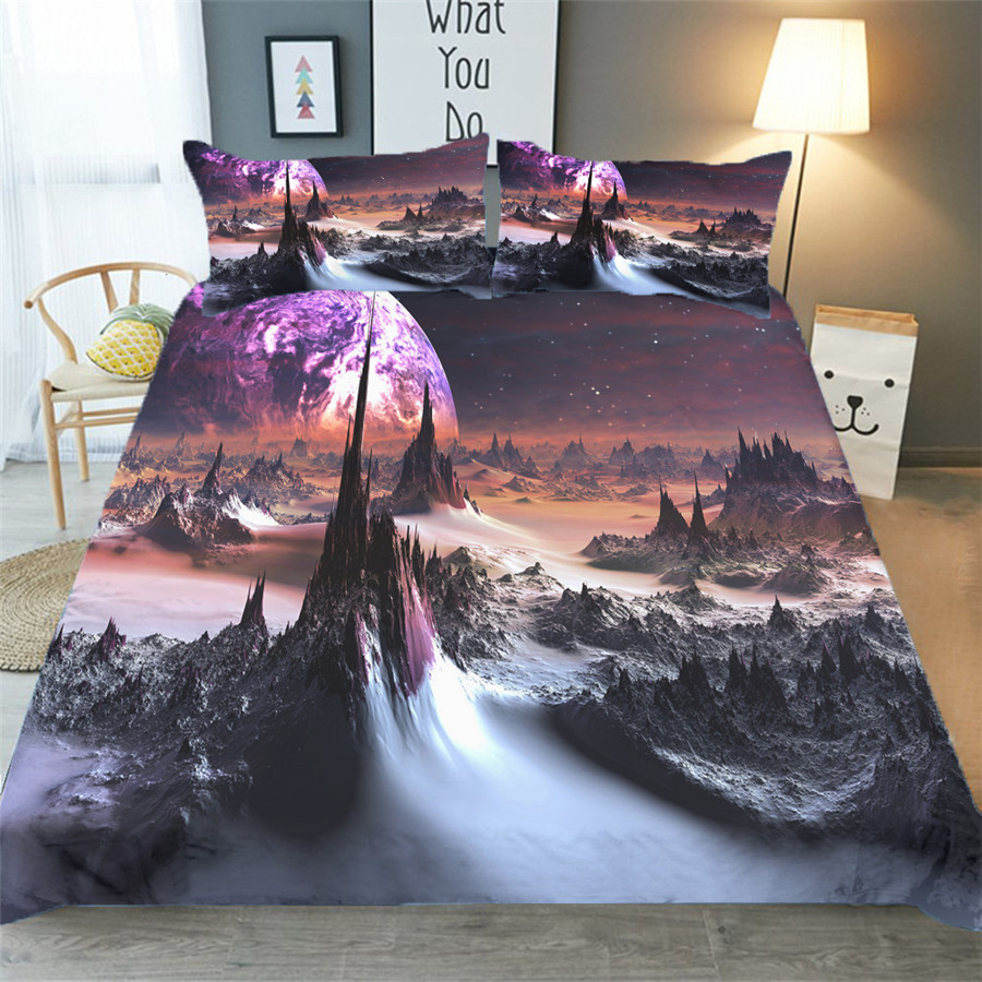 Bedding Set 3D Printed Duvet Cover Bed Set Starry Galaxy Tree Home Textiles For Adults Bedclothes With Pillowcase XK04