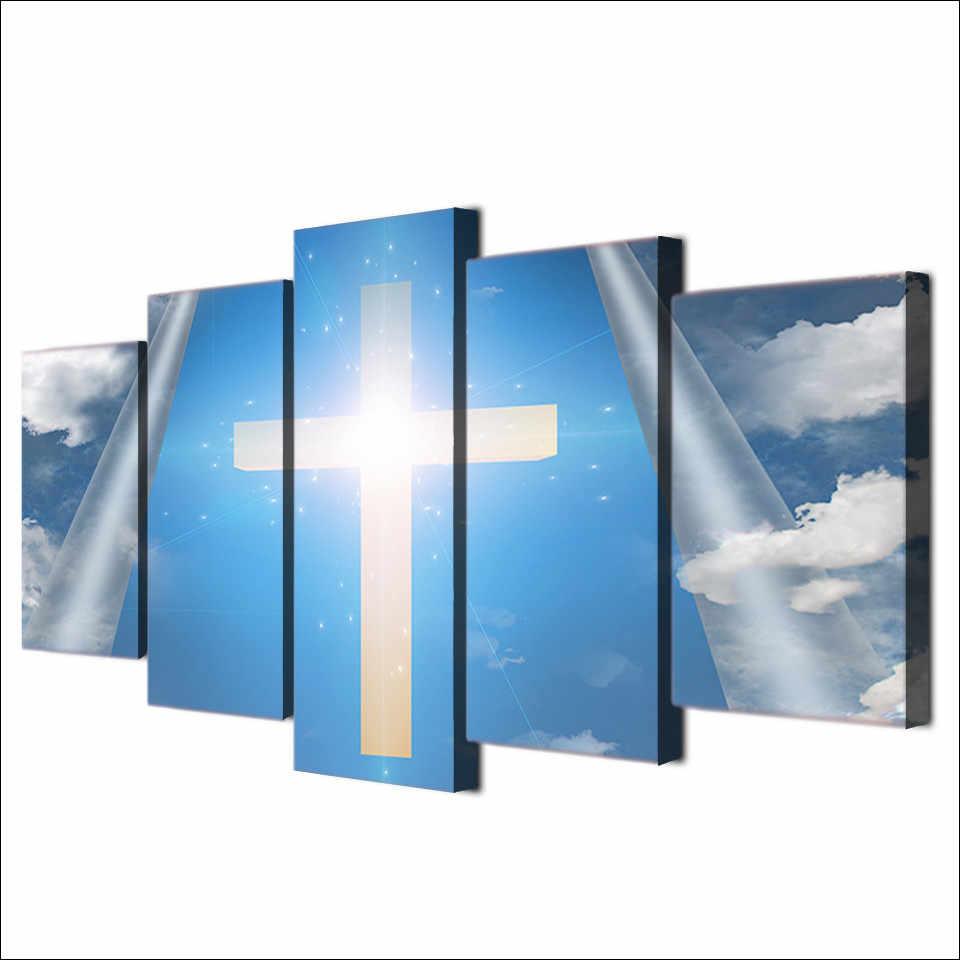 キャンバス写真ルームの壁アートポスターフレームモジュラー HD プリント装飾 5 個クリスチャンクロススカイ風景イエス。