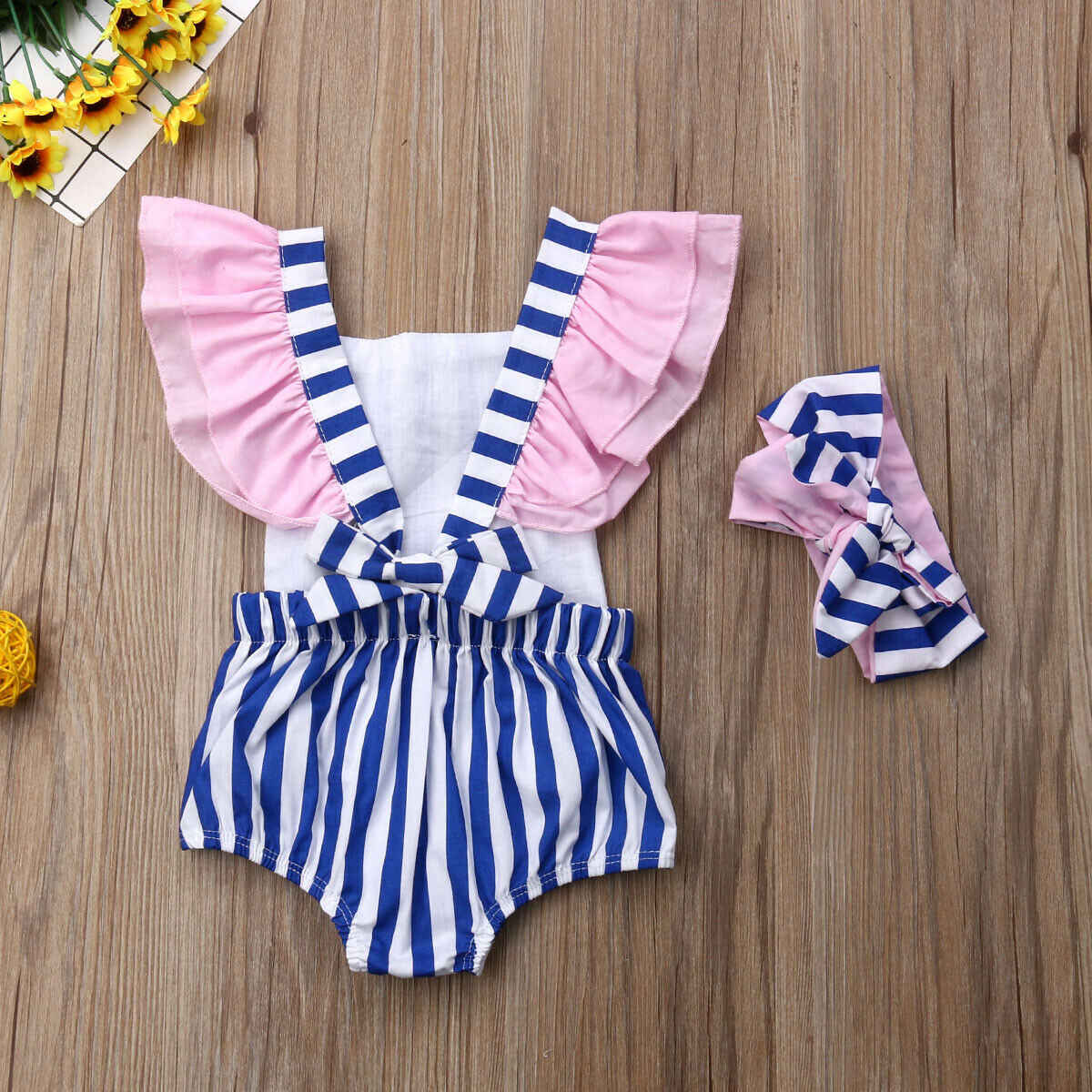 2019 Newborn Baby Girl Cotton Romper Jumpsuit Bodysuit Headband Clothes Outfit US