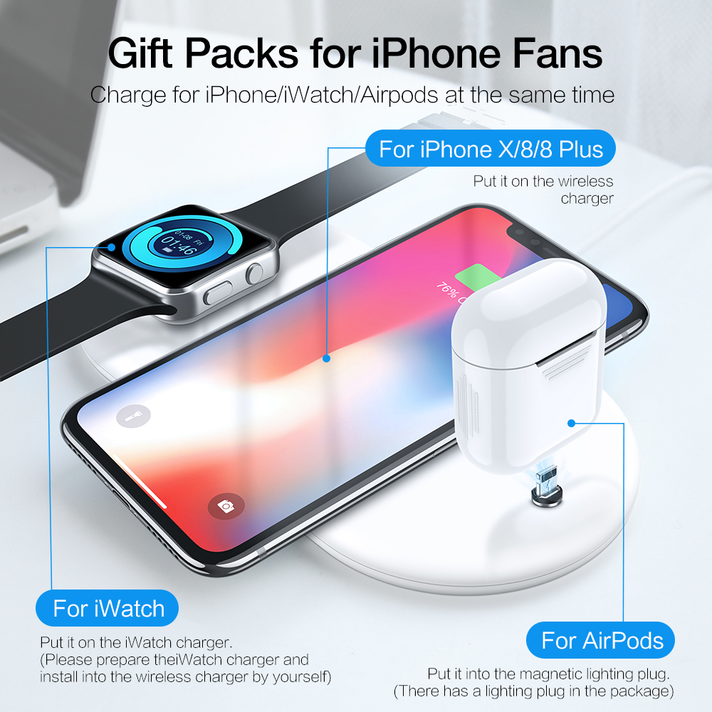 KISSCASE 3 In 1 Wireless Phone Charger For iPhone 8 X XR XS MAX Wireless Charger For AirPods Watch Mobile Phone Fast Charging in Mobile Phone Chargers from Cellphones Telecommunications
