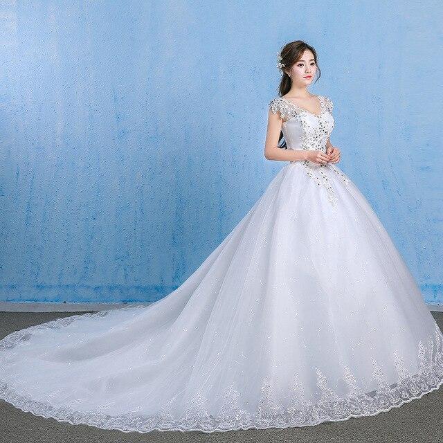 יוקרה חתונה שמלת 2019 אלגנטית כדור שמלת V צוואר אפליקציות חרוזים נסיכה בתוספת גודל כלה שמלות קריסטל Vestido דה Noiva