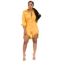 Women Summer Tassel Jeans Jumpsuit Pockets Lapel Pocket Shorts Jumpsuit Casual Slim Rompers Streetwear Yellow Denim Overalls front pocket buttoned denim jumpsuit