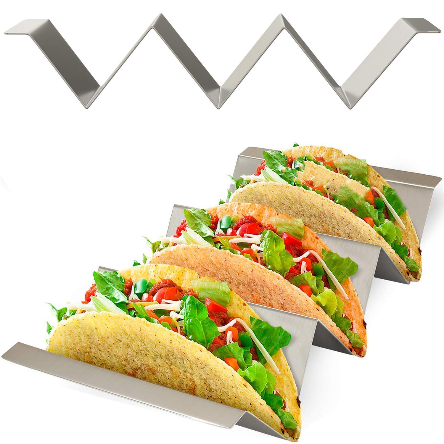 Taco Holder Stand with Easy Carry Handles 4 Pack Stainless Steel Racks for Taco Shell, Tortilla, Burrito, Fajita And More.