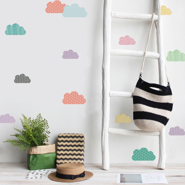 Tofok 18/24 pcs/set Cartoon Rainbow Wall Sticker Transparent PVC Children Room Mural Wall Decals Baby Room Decoration Supplier