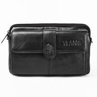 Yiang New Men Genuine Leather Hip Bum Belt Waist Bag Multi Pocket Chest Pack Male Small Shoulder Bag Wallet Purse