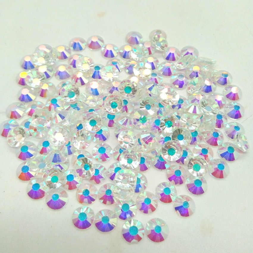 1440 Pcs Kuku Kristal Berlian Imitasi untuk Kuku Pipih Kuku Seni Dekorasi Kaca Permata Batu Setengah Manik-manik AB Jelas Warna-warni SS3-SS30