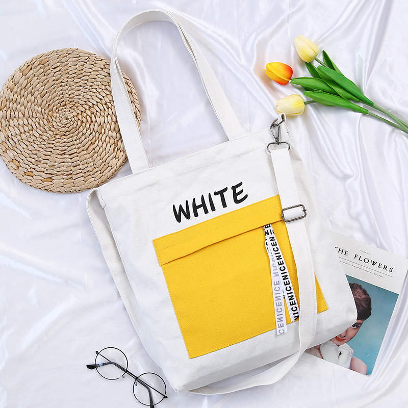 Korean Version Of Canvas Bag Ladies Shoulder Students Literary Style Wild Portable Casual Letters Simple Messenger Shopping