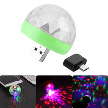 Mini USB led Party Lights Portable Crystal Magic Ball Home Party Karaoke Decorations Colorful Stage LED Disco Light(China)