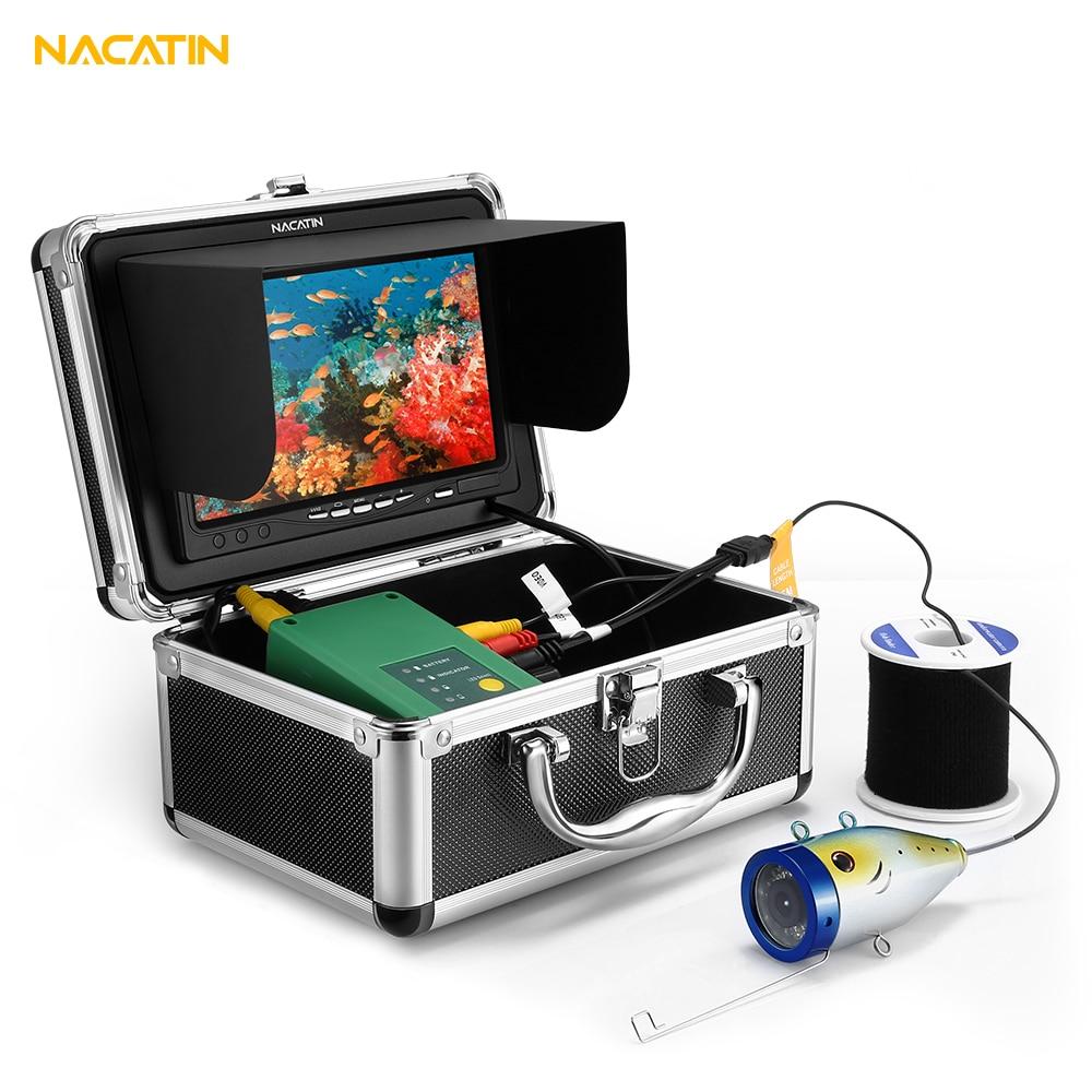 NACATIN 30pcs LEDs Fish Finder Camera Kit IR 15 30 50M Underwater 1000TVL 7 inch LCD