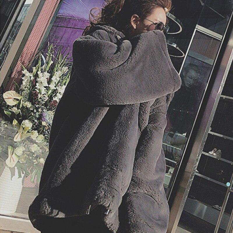 Artificielle gray Décontracté Colour 2019 Vintage Coréen Fourrure Épais Grande Lâche Chaud Capuche Faux black Taille Long Pink Femmes À D'hiver Pull Vêtements J432 Pardessus 8UrqBnw8F