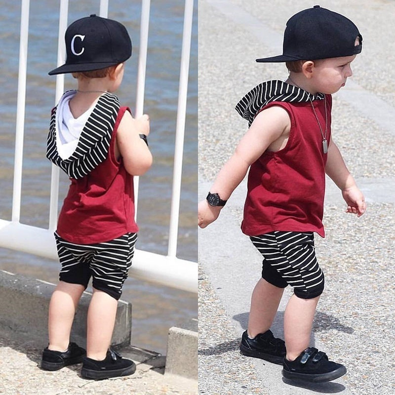 2 Pieces Sleeveless Hooded T-shirt And Striped Shorts For Boy Summer Clothes