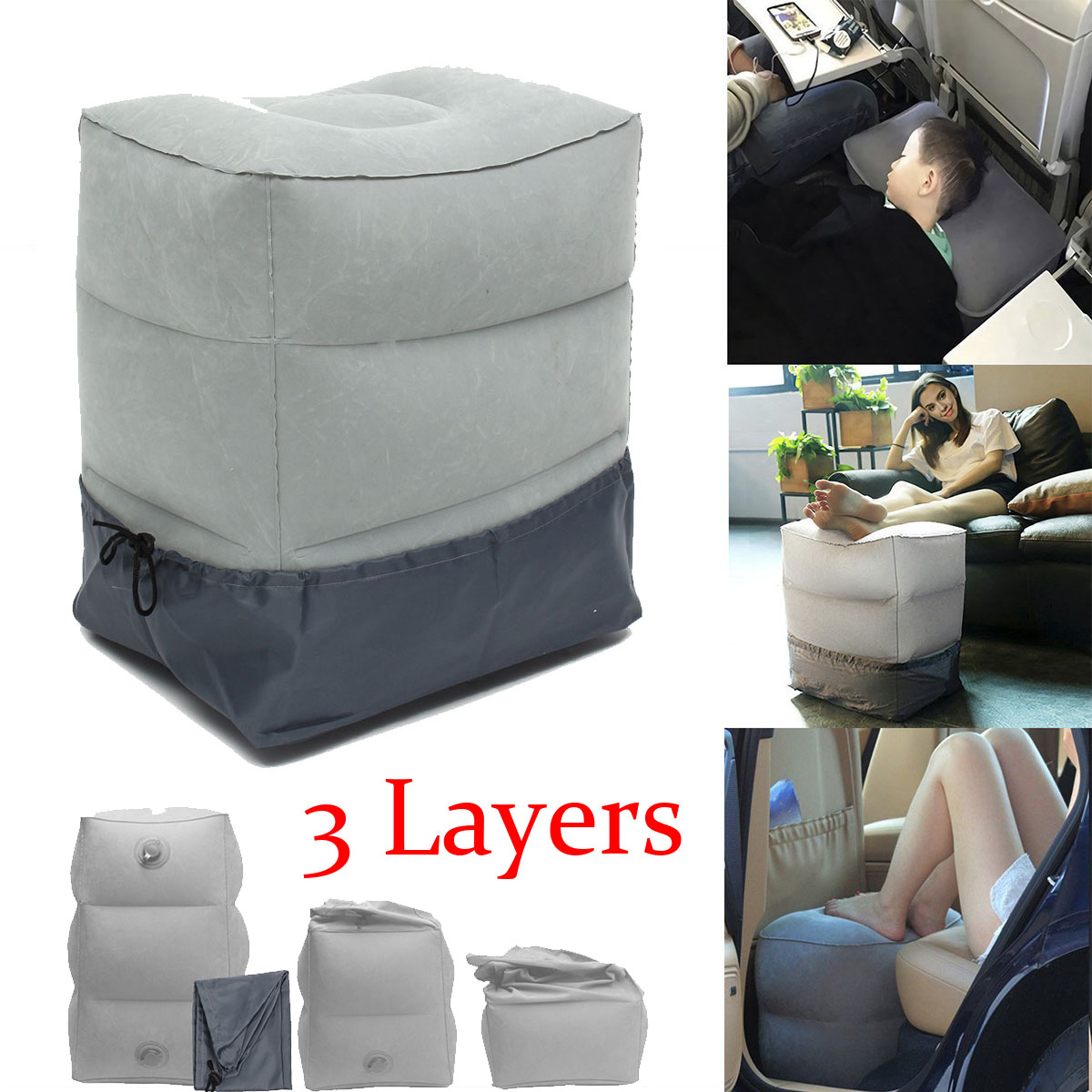 Inflatable Travel Footrest Pillow Pad Case Portable Plane Train Car Kids Bed Feet Rest Body Foot Rest Cusion Pillows