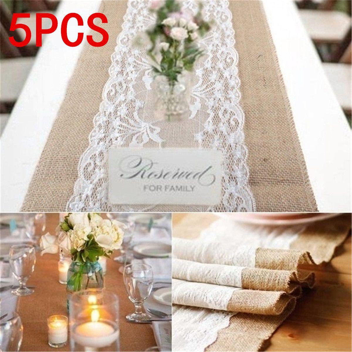 5 pièces 30 cm x 275 cm toile de jute rustique dentelle de jute chemin de Table décoration de mariage broderie dentelle garniture Banquet évider chemin de Table